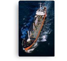Oil tanker at sea, aerial view, Fos sur Mer, France. Canvas Print