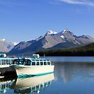 Boat and Maligne Lake by Teresa Zieba