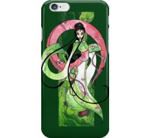 Geisha in Green with Koi and lotus Flowers iPhone Case/Skin