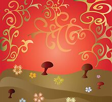 Background with glade, flowers and mushrooms by Ludmilka