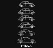 Evolution of the Volkswagen Beetle - for dark tees by Sarah Caudle