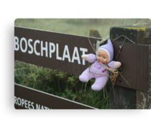 Poor little baby aren't you cold? Canvas Print
