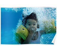 Young Girl Diving In A Swimming Pool Underwater Poster