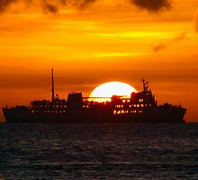 Ocean Liner at sunset by inspiredesign