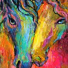 Vibrant Impressionistic Horses painting by Svetlana  Novikova
