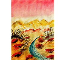 A little flash flood in desert, watercolor Photographic Print