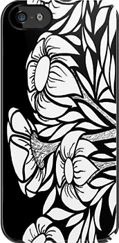 iphone case - black and white flowers by MelDavies