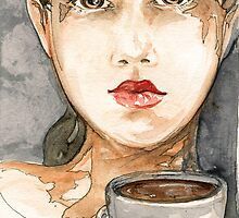 Random Watercolor Sketch of Girl Drinking Coffee by Rebecca Lesny