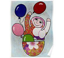 Babushka with Balloons Poster