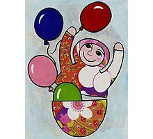 Babushka with Balloons Photographic Print