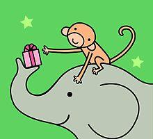 Birthday Monkey and Elephant Friend  by zoel