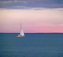 Solo Sail Boat ~ The Great Lake Superior by Diane Trummer Sullivan