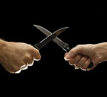 Man and woman fighting with domestic knives by Sami Sarkis