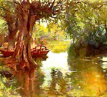 A Pleasure Boat Rests in a Shady Dell by Dennis Melling