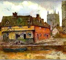 Beautiful Britain - An Old English Riverside Scene, Tewkesbury, Gloucestershire by Dennis Melling