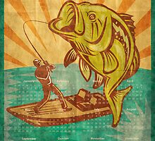 Fishing Poster Calendar 2012 Largemouth Bass by patrimonio