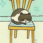 Black and White Cat Sleeping on a Chair  by zoel