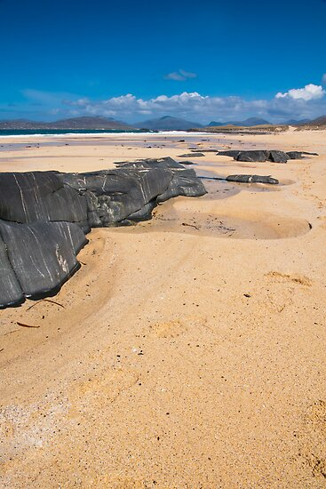 Landscape, Traigh Mhor beach, Finger of rock by Hugh McKean