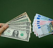 Man holding fanned out US dollars and Euro banknotes by Sami Sarkis
