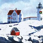 Christmas at Nubble Light by katherine rohnert