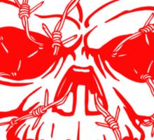 Barbwired Red Skull Sticker