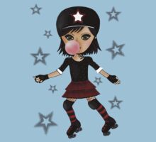 Roller Derby Girl with background by Kristy Spring-Brown