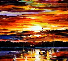 GOLD SUNSET - LEONID AFREMOV by Leonid  Afremov