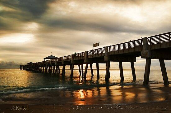 Beach Pier Sunrise by JKKimball