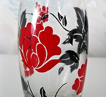 Glass with Red Rose Motif by BlueMoonRose