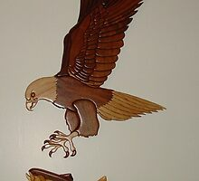 Intarsia Eagle and Fish by MaryinMaine