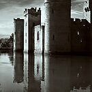 Bodiam Castle mono by Geoff Carpenter