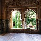 Arched Windows, Alhambra Palace, Granada, Spain  by artfulvistas