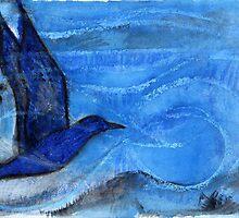 Bird Sailing above Blue Landscape by Visuddhi