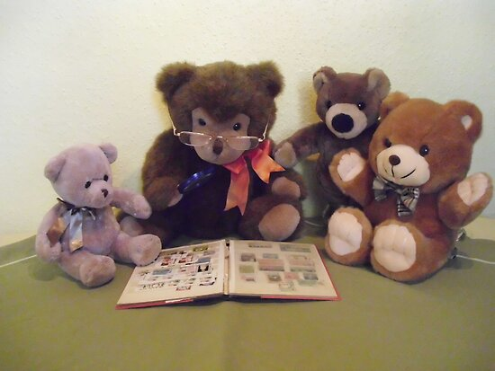 MR TEDDY SHOWS HIS NEPHEWS HIS STAMP COLLECTION by Heidi Mooney-Hill