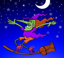 Crazy Witch Surfing on her Broom by Zoo-co