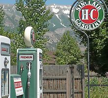 Vintage gas pumps and sign by Martha Sherman