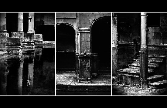 Roman Baths Triptych [black] by Damienne Bingham
