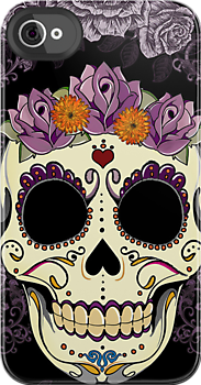 Vintage Skull and Roses by Tammy Wetzel