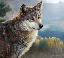 yellowstone wolf by R Christopher  Vest