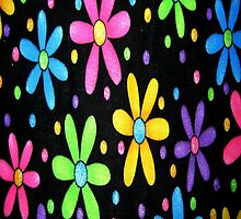 Black Funky Flowers iPhone 4 Case by purplesensation