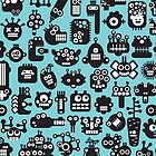 Robots faces blue. by Ekaterina Panova