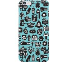 Robots faces blue. iPhone Case/Skin