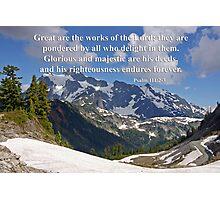 mt shuksan with psalm 11:2-3 Photographic Print