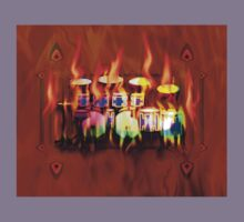Flaming Drumset Melting by fineline