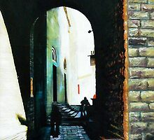San Gimignano -Oil 2 by Richard Sunderland