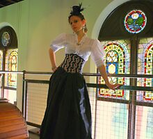 Victorian Steampunk with Stained Glass Background  by Scott Read