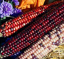 Indian Corn in Autumn Decor by Kenneth Keifer