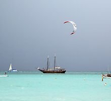 Kite Surfing at Palm Beach  by John  Kapusta