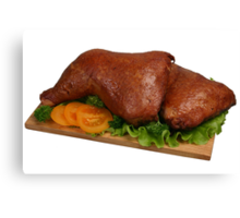 Smoked chicken on wooden board 2 Canvas Print