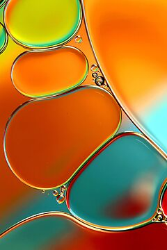 Oil & Water Abstract in Orange by Sharon Johnstone